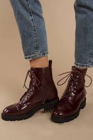 gigi red patent leather combat boots