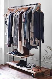 Wardrobe Racks, Industrial Clothing Rack Industrial Clothing Rack Diy  Rolling Wood And Metal Clothes Rack