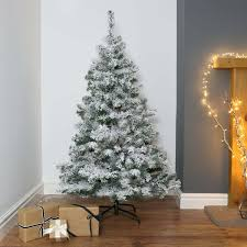 5ft Snow Covered Flocked Downswept Artificial Christmas Tree ...