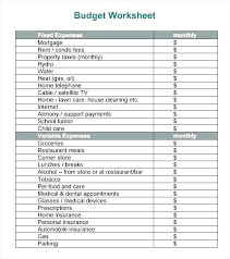 Monthly Budget Worksheet Forms Printable Budgeting Tips Free