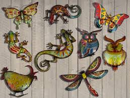 colourful metal hanging garden home wall art large gecko colour