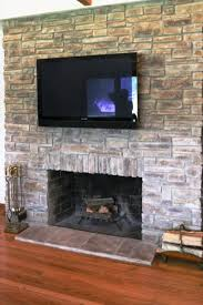 image of faux stacked stone fireplace