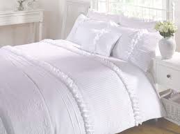 white duvet quilt cover double king super king bedding bedset ruffles polycotton