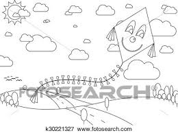 clip art coloring book with autumn landscape with kite during sunny day fotosearch
