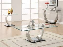 Modern Coffee Table Set Glass Top Curved Metal Legs Modern Coffee Table W Options