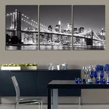 3 pieces night of new york city on the brooklyn bridge modern home wall decor canvas picture art hd print painting on canvas art in painting calligraphy