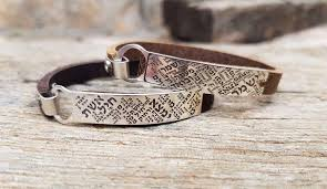 Sterling Silver Jewish <b>Leather Bracelet</b> for <b>Women</b> Engraved with ...