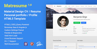 Matresume – Material Cv / Resume / Vcard / Portfolio Html Template ...