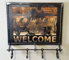 Sturdy Coat Racks Industrial Metal and Reclaimed Barn Wood WELCOME Coat Rack with 59