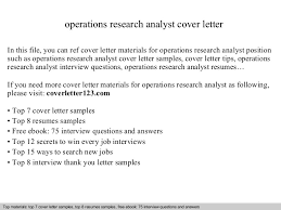 operations research analyst cover letter research job cover letter