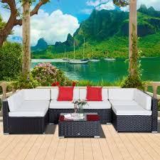 outsunny garden wicker sectional sofa set with cushion patio outdoor furniture dark coffee cream white