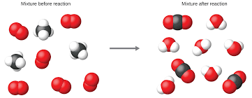 this image has a left side labeled mixture before reaction separated by