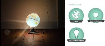 image of light fixture created with a globe of the world icons accompany the image