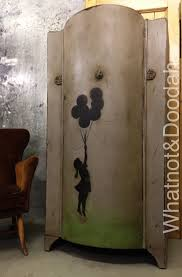 image stencils furniture painting. Banksy-balloon-girl-stencil-painted-furniture Image Stencils Furniture Painting