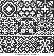Black And White Pattern Tile Delectable Decorative Monochrome Tile Pattern Design Vector Stock Vector