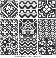 Black And White Pattern Tile Delectable Decorative Monochrome Tile Pattern Design Vector Stock Vector