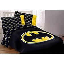 Batman Emblem 7 Piece Reversible Super Soft Luxury Queen Size Comforter Set  W/ Solid Black