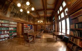 home library lighting. Old Vintage Home Library Design With Antique Chandelier Lighting And Wooden Wall Bookcases I