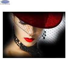 Diamant Schilderij Vrouwen Hoed Karakter 5d Diy Vol Diamanten