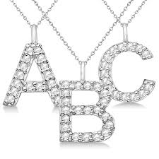 customized block letter pave diamond initial pendant in 14k white gold