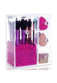 brush works white makeup brush organizer with 3 side drawers and brush divider acrylic