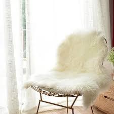 carvapet luxury soft faux sheepskin chair cover seat cushion pad plush fur ar