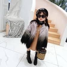 Kids Designer Coats Winter Warm Girls Fur Jacket Kids Designer Coat Children Outwear Baby Clothes Thick Velvet Gradient Faux Fur Tassel 3 To 6 Yrs Boys Coats On Sale