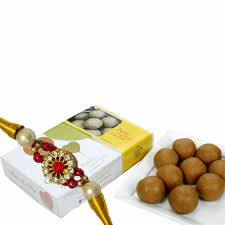 mithai4all rakhi gifts r320 with almond house sunni laddu designer rakhi