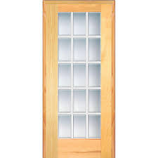 right handed unfinished pine wood clear glass 15 lite beveled single prehung interior door