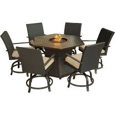 Aluminum Outdoor Dining Table Hanover Aspencrk7pcfp Tan Aspen Creek 7 Piece Fire Pit Outdoor