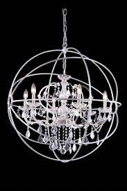 urban classic 6 light 32 polished nickel iron medium orb crystal chandelier
