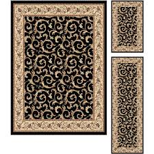 3 piece set ivory gold and black area rug elegance rc willey furniture