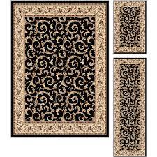 elg5403 set3 3 piece set ivory gold and black area rug elegance
