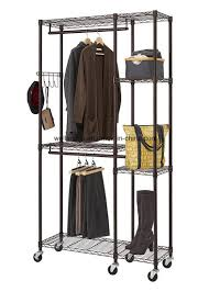 moveable portable metal garment rack rolling clothes hanger closet organizer hanging shelf rail trolley clothing shelving unit