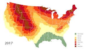 Fall Leaf Chart 2019 Fall Foliage Map Nationwide Peak Leaf Forecast