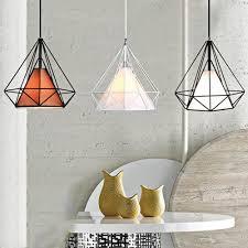 diamond shaped wire cage pendant light