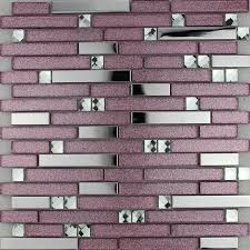 purple glass mosaic tile backsplash silver stainless steel diamond crystal kitchen for walls metal and