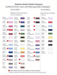Robison Anton Color Chart Super Stitch Cotton