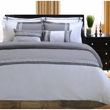 superior emma greek key embroidered microfiber 7 piece duvet cover set