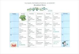 School Lunch Menu Template Meal Calendar Dinner Plan Schedule Free ...