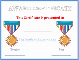 Perfect Attendance Award Certificate Template Gct