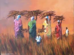 oil painting hard working zulu women by mauro chiarla
