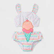 Baby Buns Toddler Girls' Ice Cream Cone One Piece Swimsuit - White ...