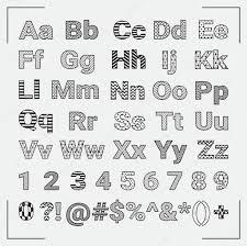 手描きの幾何学的な英語のアルファベット文字と数字 ストックベクター