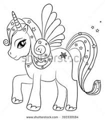 cute cartoon fairytale unicorn coloring page for kids this vector on shutterstock find other images