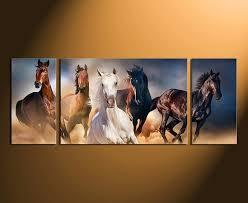 3 piece canvas wall art horses wall decor panoramic