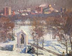 american arthur merton hazard oil painting boston view of state house from boylston st for