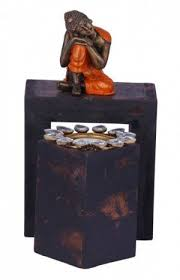 india wooden buddha t lite candle holder with stand