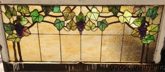 antique stained glass g vine window transom 56 x 28