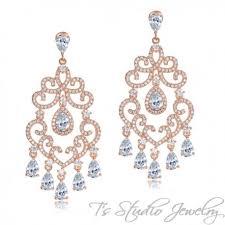 delicate crystal chandelier bridal earrings silver or rose gold